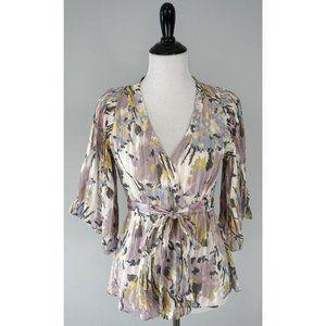 BCBG MAX AZRIA Multicolor Floral Wrap Silk Top